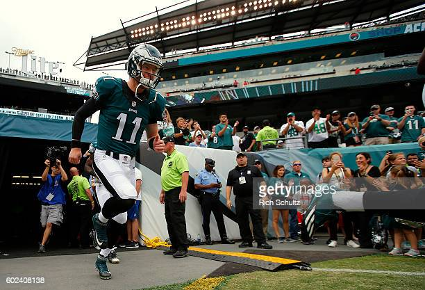 Carson Wentz of the Philadelphia Eagles takes the field before a game against the Cleveland Browns at Lincoln Financial Field on September 11 2016 in...