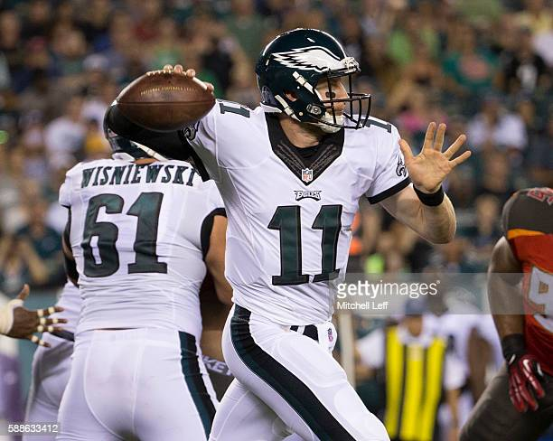 Carson Wentz of the Philadelphia Eagles throws a pass in the second quarter of a preseason game against the Tampa Bay Buccaneers at Lincoln Financial...