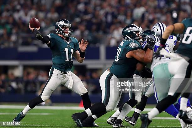 Carson Wentz of the Philadelphia Eagles throws during a game between the Dallas Cowboys and the Philadelphia Eagles at ATT Stadium on October 30 2016...