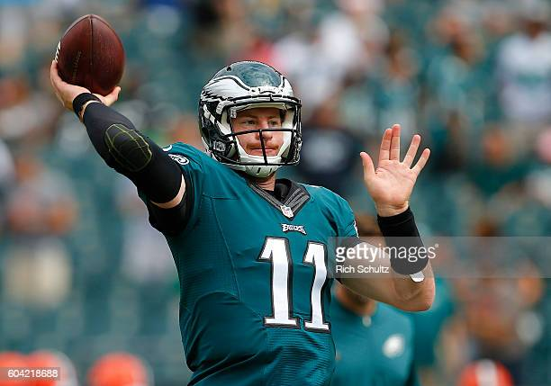 Carson Wentz of the Philadelphia Eagles warms up on the field before a game against the Cleveland Browns at Lincoln Financial Field on September 11...