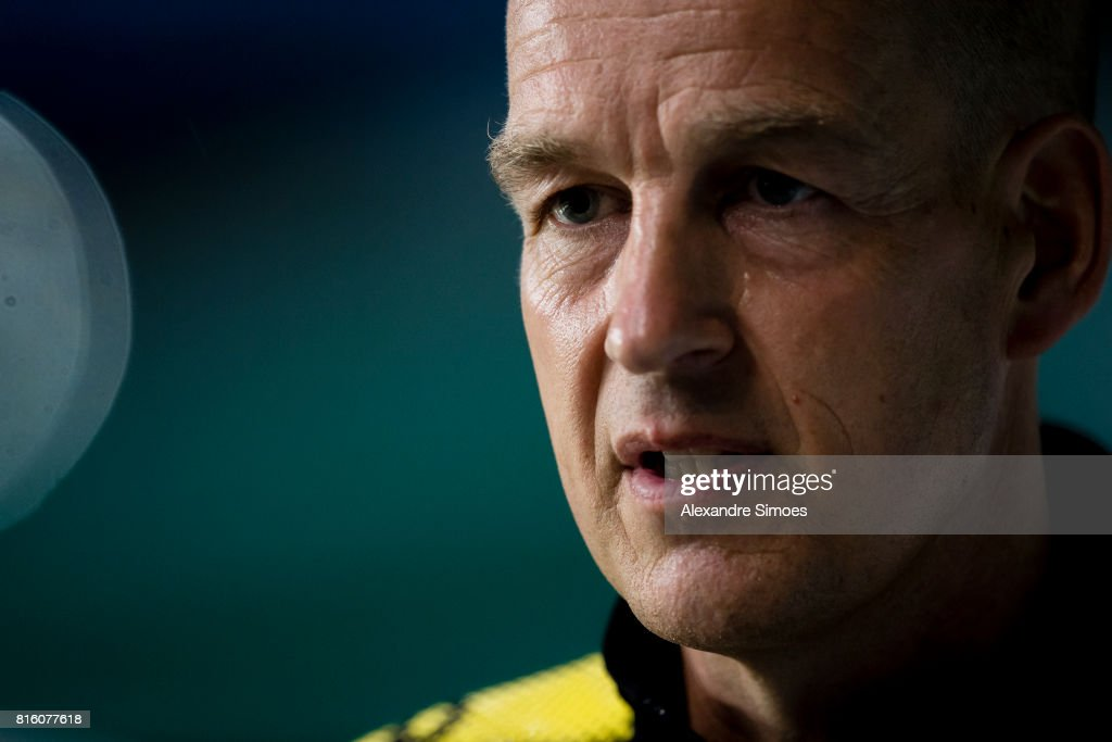 Carsten Cramer, Director of Marketing of Borussia Dortmund, giving interviews before the training session during the Borussia Dortmund Asian Summer Tour on July 17, 2017 in Guangzhou, China.