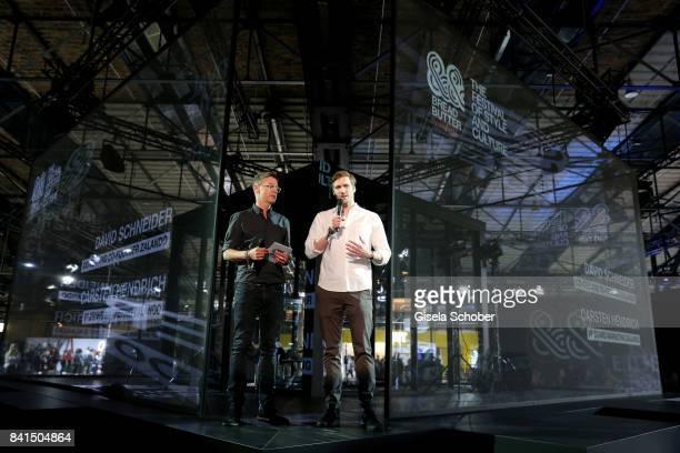 Carsten Hendrich VP Brand Marketing at Zalando and Zalando founder David Schneider speak during the opening of Bread Butter by Zalando at arena...