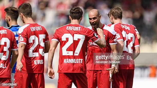 Carsten Kammlott of RW Erfurt celebrates the first goal for his team with Daniel Brueckner of RW Erfurt during the Third League match between FSV...
