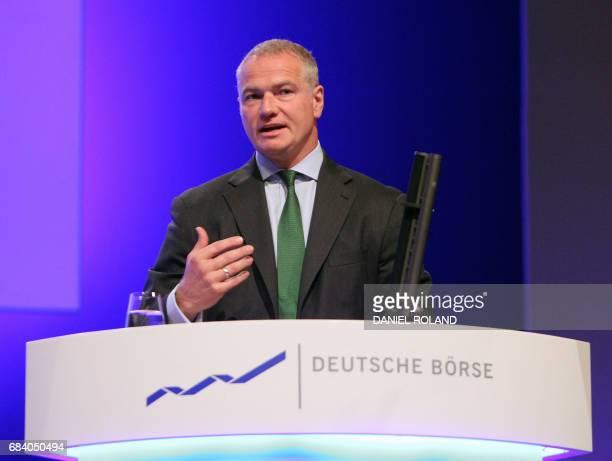 Carsten Kengeter CEO of German stocks operator Deutsche Boerse addresses shareholders during the company's annual general meeting in Frankfurt am...