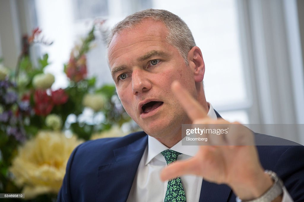 Carsten Kengeter, chief executive officer of Deutsche Boerse AG, gestures whilst speaking during an interview in London, U.K., on Friday, May 27, 2016. In its review of the merger between Deutsche Boerse AG and London Stock Exchange Group Plc, the regulator of the Frankfurt bourse will pay close attention to the U.K.s referendum on European Union membership and the location of the future headquarters of the combined company, the economy minister of the German state of Hesse said. Photographer: Simon Dawson/Bloomberg via Getty Images