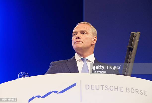 Carsten Kengeter chief executive officer of Deutsche Boerse AG pauses during the German stock exchange's annual general meeting in Frankfurt Germany...
