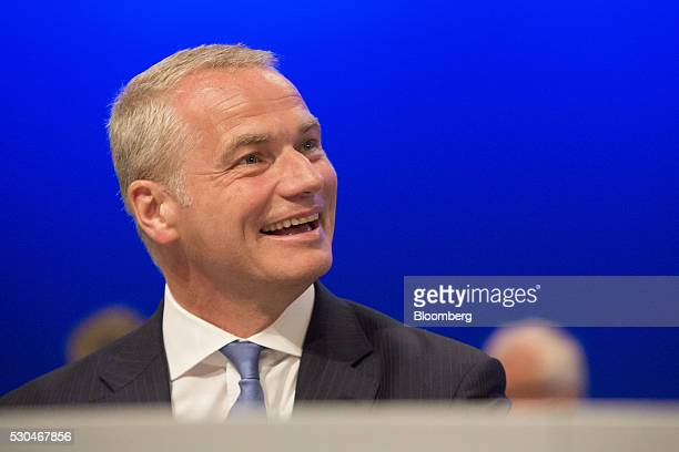 Carsten Kengeter chief executive officer of Deutsche Boerse AG reacts during the German stock exchange's annual general meeting in Frankfurt Germany...