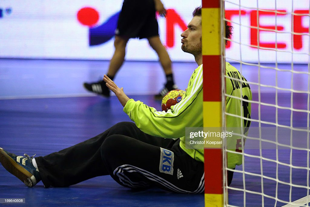 Carsten Lichtlein of Germany sits on the pitch during the premilary group A match between Germany and Argentina at Palacio de Deportes de Granollers on January 15, 2013 in Granollers, Spain.