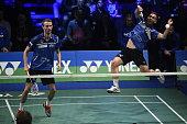 Carsten Mogensen and Mads Conrad Petersen of Skovshoved in action during the Danish Badmintonligaen Guldkampen Final match between Greve Badminton...