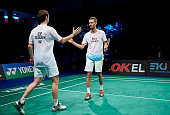 Carsten Mogensen and Mathias Boe celebrate their gold medal after the Mens Double Final during the Danish Badminton Championships at Frederiksberg...