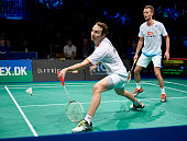 Carsten Mogensen and Mathias Boe in action in the Mens Double Final during the Danish Badminton Championships at Frederiksberg Hallen on February 8...