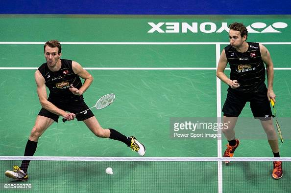 Carsten Mogensen and Mathias Boe of Denmark competes against Mohammad Ahsan and Rian Agung Saputro of Indonesia during their Men's Doubles SemiFinal...