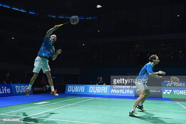 Carsten Mogensen and Mathias Boe of Denmark in action against Hiroyuki Endo and Kenichi Hayakawa of Japan in the Mens Doubles during day two of the...