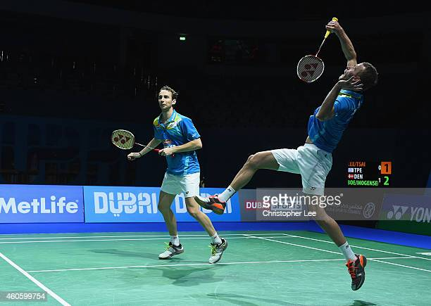 Carsten Mogensen and Mathias Boe of Denmark in action against Lee Sheng Mu and Tsai Chia Hsin of Chinese Taipei in the Mens Doubles during day one of...