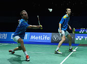 Carsten Mogensen and Mathias Boe of Denmark in action against Lee Yong Dae and Yoo Yeon Seong of Korea in the Mens Double Semi Final during the BWF...