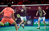 Carsten Mogensen and Mathias Boe of denmark in action during Semifinals at the MetLife BWF World Superseries Premier Yonex Denmark Open Badminton at...