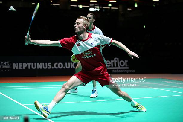Carsten Mogensen and Mathias Boe of Denmark in action during their mens doubles semifinal match against Wahyu Nayaka Arya Pankaryanira and Ade Yusuf...