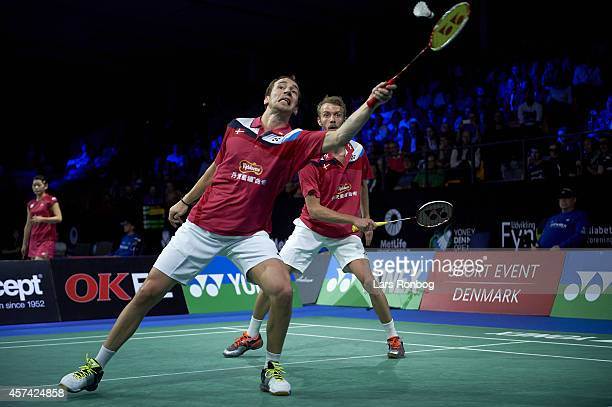 Carsten Mogensen and Mathias Boe of Denmark in action in the semifinals during the Yonex Denmark Open MetLife BWF World Superseries at Odense...