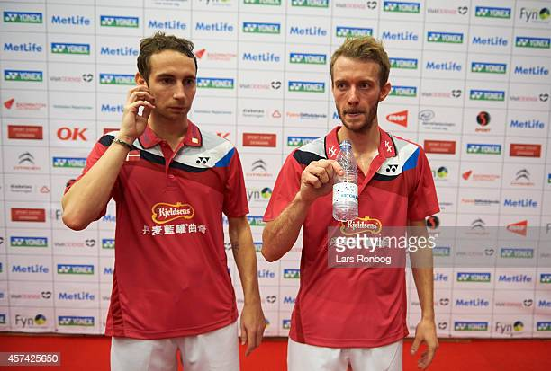 Carsten Mogensen and Mathias Boe of Denmark looks dejected after the semifinals during the Yonex Denmark Open MetLife BWF World Superseries at Odense...
