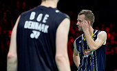 Carsten Mogensen and Mathias Boe of Denmark looks dejected after the Semifinals at the MetLife BWF World Superseries Premier Yonex Denmark Open...