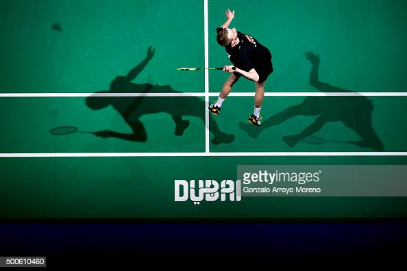Carsten Mogensen of Denmark in action in the men doubles match against Mads Conrad Petersen and Mads Pieler Kolding of Denmark during day one of the...