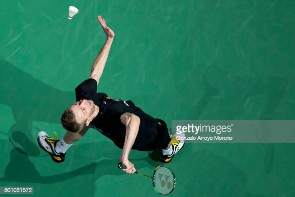 Carsten Mogensen of Denmark in action in the Semifinal Men's Doubles match against Chai Biao and Hong Wei of China during day four of the BWF Dubai...