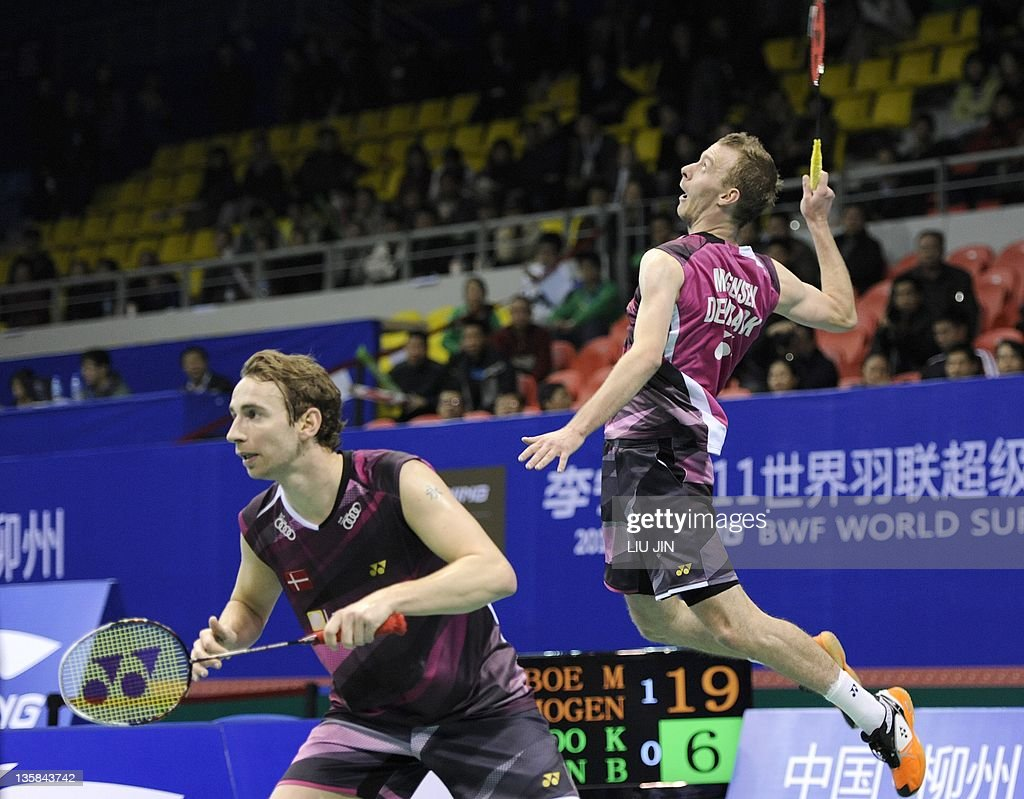 Carsten Mogensen R of Denmark leaps to