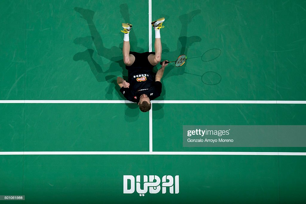 <a gi-track='captionPersonalityLinkClicked' href=/galleries/search?phrase=Carsten+Mogensen&family=editorial&specificpeople=651076 ng-click='$event.stopPropagation()'>Carsten Mogensen</a> of Denmark reacts in the Semifinal Men's Doubles match against Chai Biao and Hong Wei of China during day four of the BWF Dubai World Superseries 2015 Finals at the Hamdan Sports Complex on on December 12, 2015 in Dubai, United Arab Emirates.