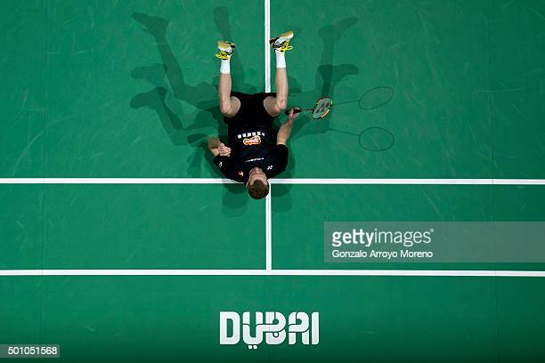 Carsten Mogensen of Denmark reacts in the Semifinal Men's Doubles match against Chai Biao and Hong Wei of China during day four of the BWF Dubai...