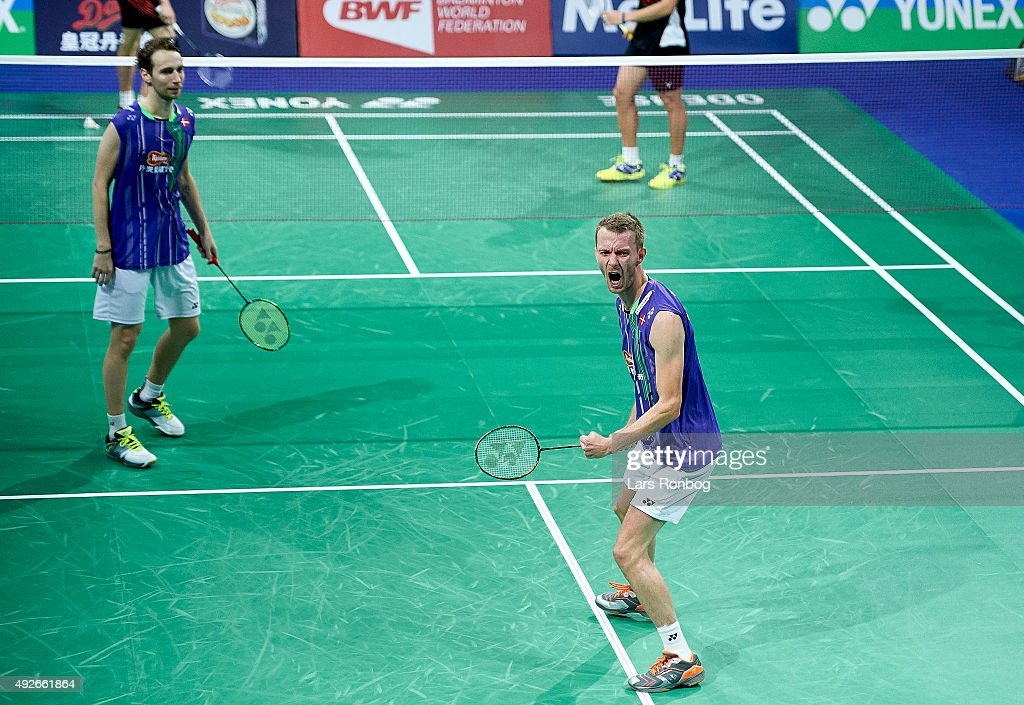 <a gi-track='captionPersonalityLinkClicked' href=/galleries/search?phrase=Carsten+Mogensen&family=editorial&specificpeople=651076 ng-click='$event.stopPropagation()'>Carsten Mogensen</a> og <a gi-track='captionPersonalityLinkClicked' href=/galleries/search?phrase=Mathias+Boe&family=editorial&specificpeople=651077 ng-click='$event.stopPropagation()'>Mathias Boe</a> of Denmark celebrate after their match during Day Two at the MetLife BWF World Superseries Premier Yonex Denmark Open Badminton at Odense Idratshal on October 14, 2015 in Odense, Denmark.