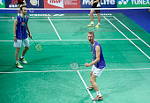 Carsten Mogensen og Mathias Boe of Denmark celebrate after their match during Day Two at the MetLife BWF World Superseries Premier Yonex Denmark Open...