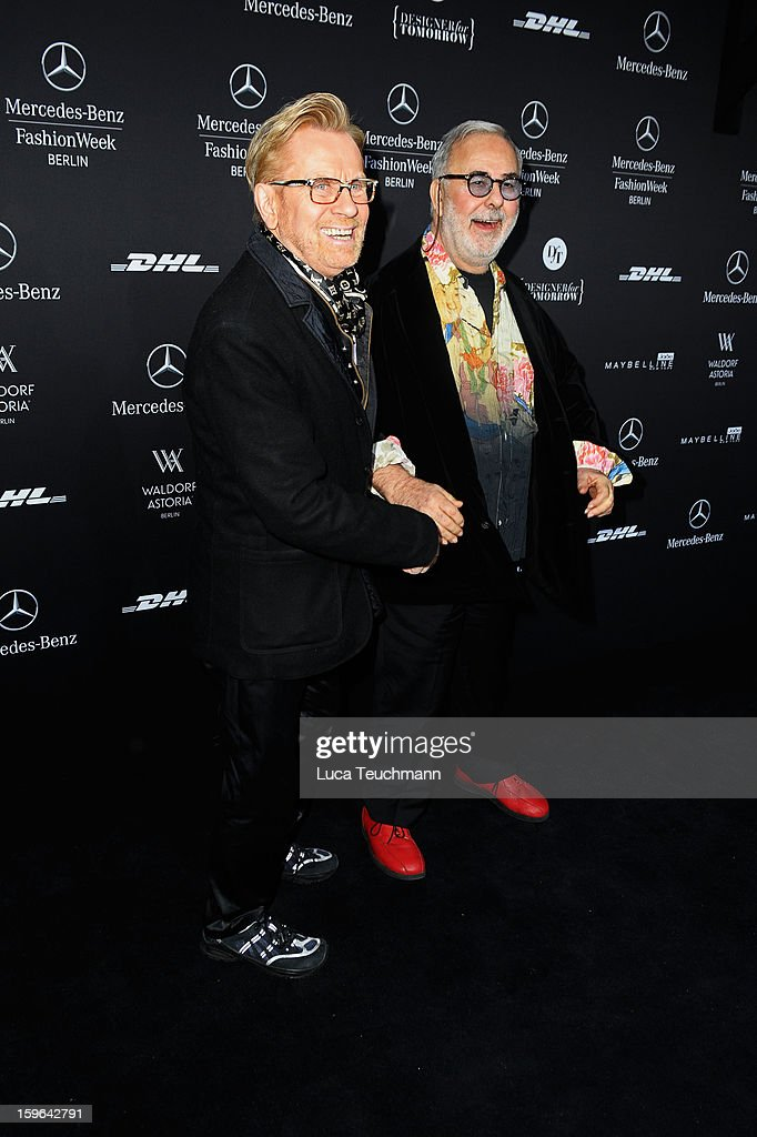 Carsten Thamm and Udo Walz attend Guido Maria Kretschmer Autumn/Winter 2013/14 fashion show during Mercedes-Benz Fashion Week Berlin at Brandenburg Gate on January 17, 2013 in Berlin, Germany.