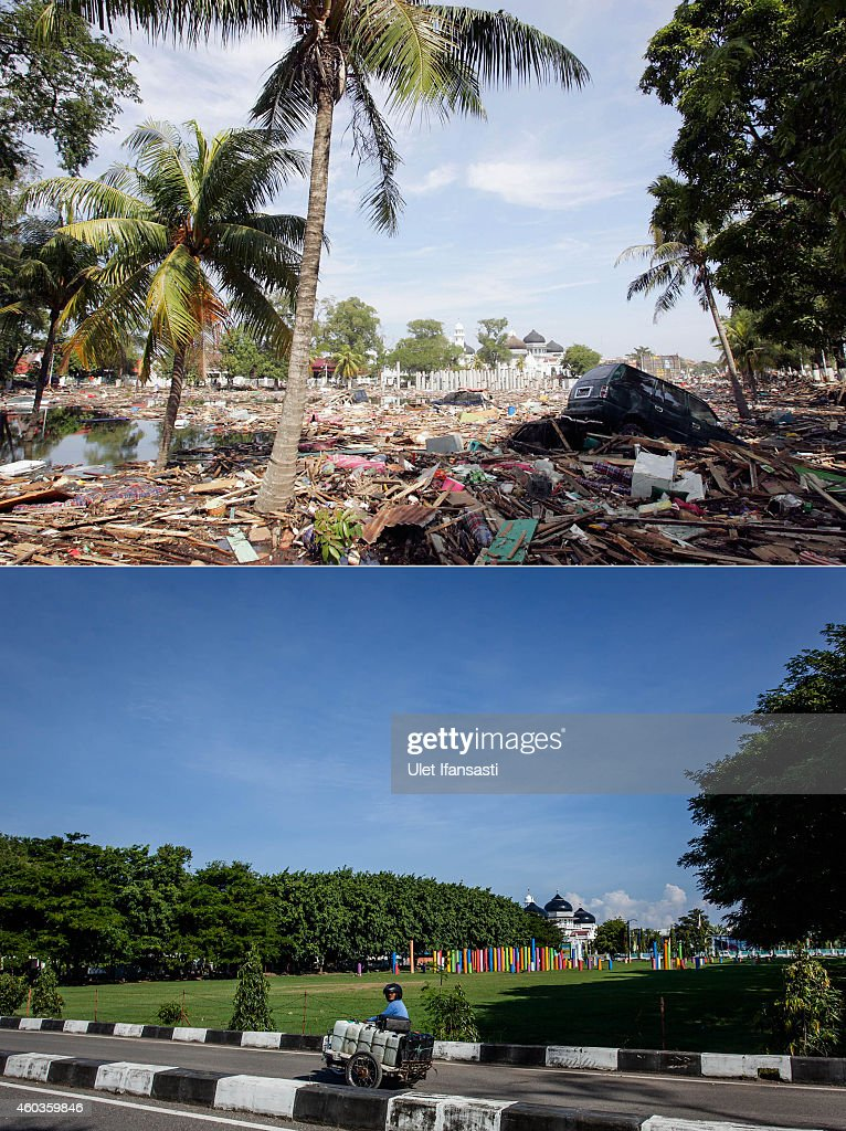 In this composite image a comparison has been made between a scene in 2004 and 2014 BANDA ACEH INDONESIA DECEMBER 11 A cart drives by in Taman sari...