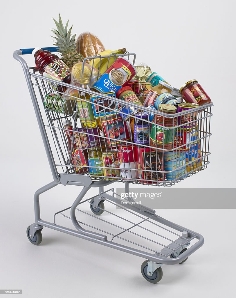 Cart full of groceries
