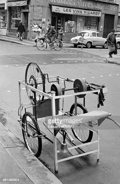 Cart of a merchant in the rue Mouffetard in Paris France