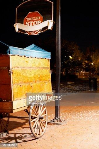 Cart on a walkway, Savannah, Georgia, USA : Stock Photo