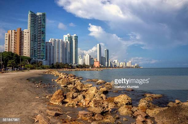 Cartagena Bocagrade beach and skyscrapers