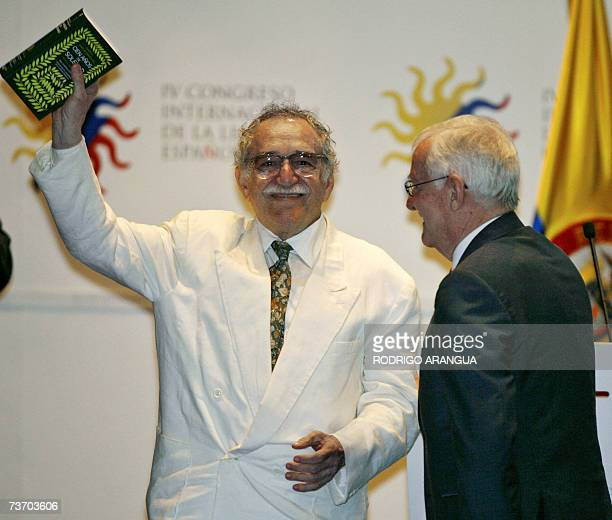 Colombian writer and Nobel Prize laureate Gabriel Garcia Marquez receives the first copy of a commemorative edition of his most outstanding work...