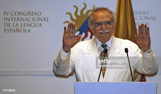 Colombian writer and Nobel Prize laureate Gabriel Garcia Marquez waves during the opening ceremony of the IV International Congress of the Spanish...
