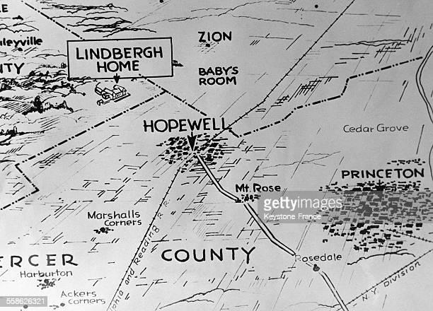 Carte montrant le lieu où se trouve la maison de la famille Lindbergh à Hopewell New Jersey EtatsUnis en mars 1932