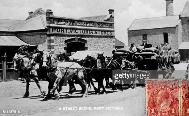 Carte postale illustrée par la photographie d'une scène de rue à PortVictoria en Australie