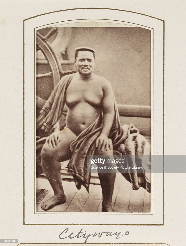 A carte-de-visite portrait of Cetywayo (c1836-1884), king of the Zulus, taken on board the S.S. Natal by Crewes & Van Laun, Cape Town, South Africa and published by Marion & Co, London in about 1880. A carte-de-visite is a photograph mounted on a piece of card the size of a formal visiting card of the 1850s - hence the name. The format was introduced by the French photographer Andre-Adolphe-Eugene Disderi (1819-1889) in 1854. As well as family portraits, commercial cartes of celebrities such as politicians, royalty and popular personalities were published. The craze for collecting celebrity cartes-de-visite in albums reached its peak during the 1860s but the format remained popular until the beginning of the twentieth century. The backs of cartes-de-visite were normally printed with the photographer's name and address.