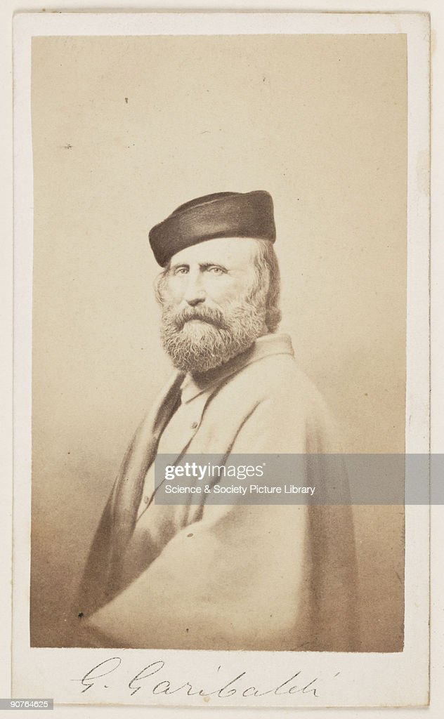 A carte-de-visite portrait of Italian republican Giuseppe Garibaldi (1807-1882). A carte-de-visite is a photograph mounted on a piece of card the size of a formal visiting card of the 1850s - hence the name. The format was introduced by the French photographer Andre-Adolphe-Eugene Disderi (1819-1889) in 1854. As well as family portraits, commercial cartes of celebrities such as politicians, royalty and popular personalities were published. The craze for collecting celebrity cartes-de-visite in albums reached its peak during the 1860s but the format remained popular until the beginning of the twentieth century. The backs of cartes-de-visite were normally printed with the photographer's name and address.