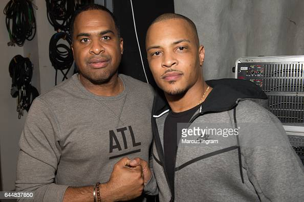 J Carter and rapper TI attend the 'Together' A Black History Month Celebration of Unity Community and the 15th Anniversary of 'Pass the Courvoisier'...