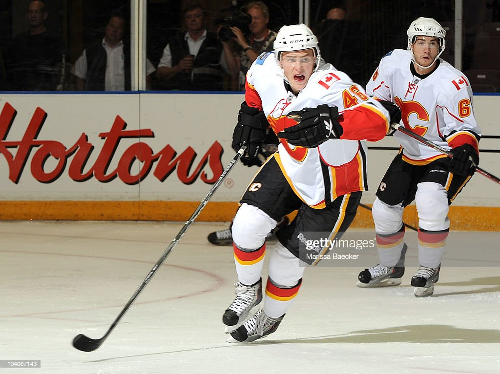 Carter Bancks #46 of the Calgary Flames skates against the Anaheim Ducks during game 3 of the Young Stars Tournament at the South Okanagan Event Centre on September 13, 2010 in Penticton, Canada.