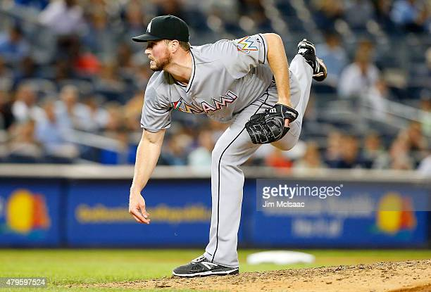 Carter Capps of the Miami Marlins in action against the New York Yankees at Yankee Stadium on June 18 2015 in the Bronx borough of New York City The...