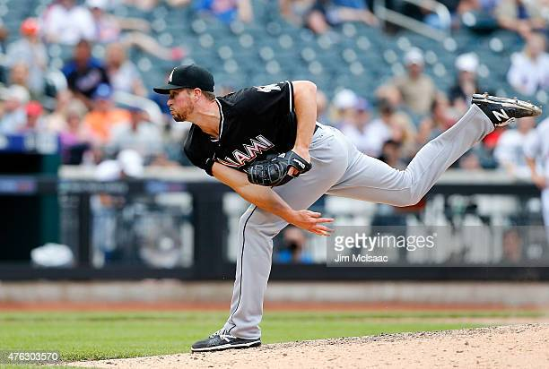 Carter Capps of the Miami Marlins in action against the New York Mets at Citi Field on May 31 2015 in the Flushing neighborhood of the Queens borough...