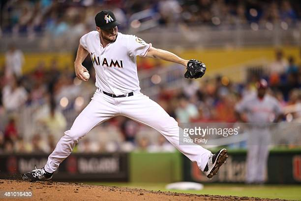 Carter Capps of the Miami Marlins in action during the game against the Cincinnati Reds at Marlins Park on July 9 2015 in Miami Florida