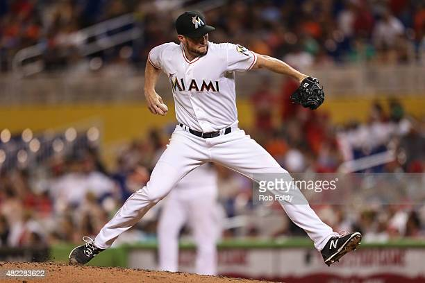 Carter Capps of the Miami Marlins in action during the game against the St Louis Cardinals at Marlins Park on June 23 2015 in Miami Florida