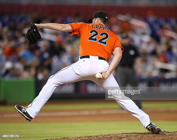Carter Capps of the Miami Marlins in action during the game against the San Diego Padres at Marlins Park on August 2 2015 in Miami Florida